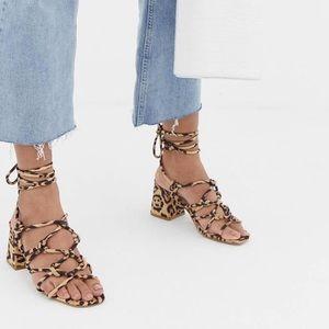 1eebb094c550 NWT ASOS Leopard lace up heeled sandals SIZE 7
